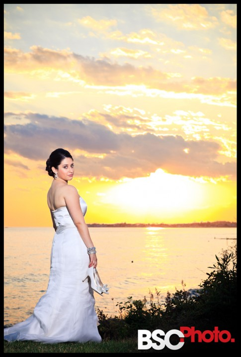 Beautiful beach sunset pictures from CT wedding at The Waters Edge