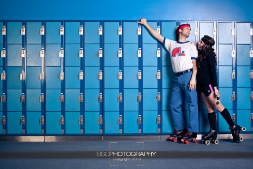 70's editorial style engagement photo shoot
