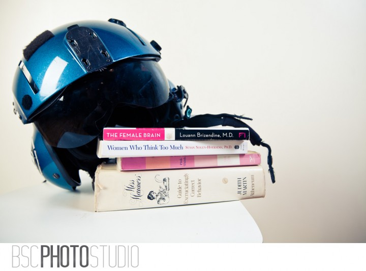 Self help books and fighter pilots helmet