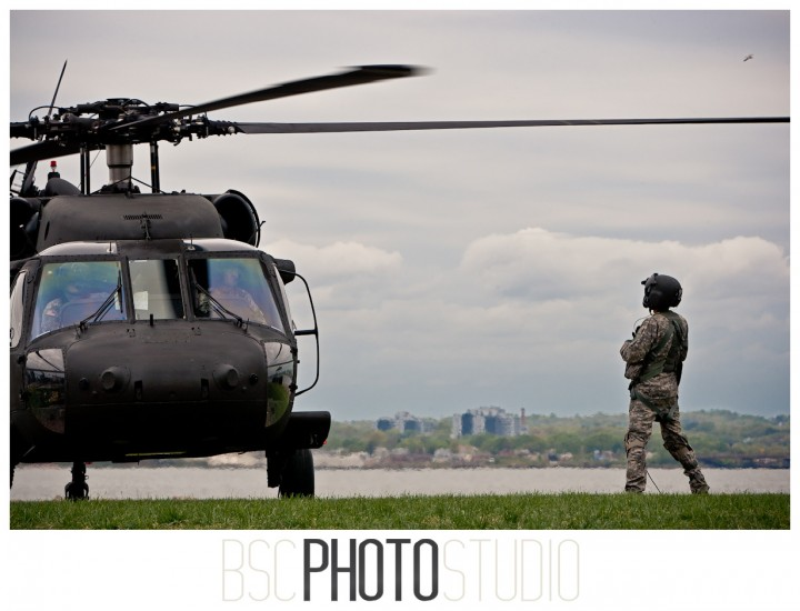 photo of Blackhawk pilot preflights as the blades begin to spin