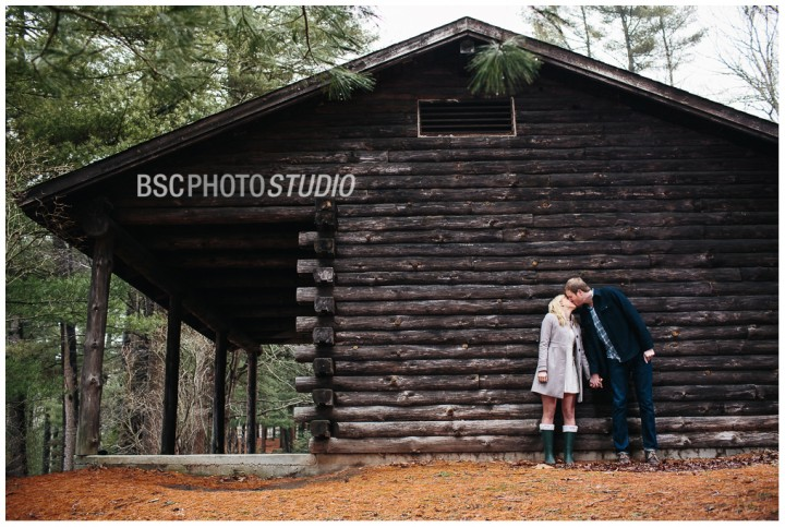 Log cabin rustic engagement photography