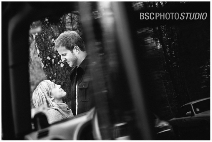 Jeep Wrangler engagement photography in the woods