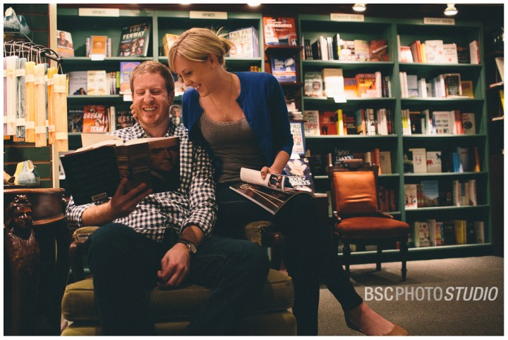 Middlesex County bookstore creative engagement photography