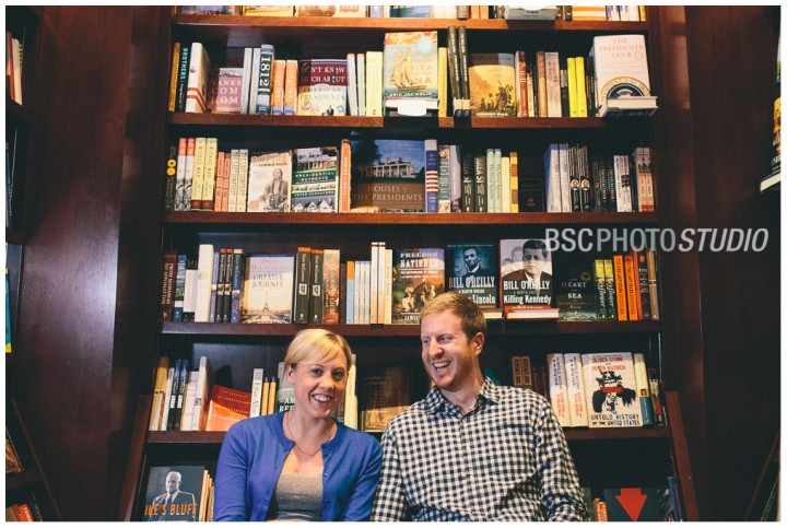 Vintage bookstore creative engagement photography in RJ Julia Booksellers bookstore engagement photography Middlesex County Connecticut