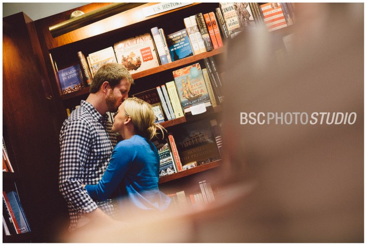Modern bookstore creative engagement photography in RJ Julia Booksellers bookstore engagement photography Middlesex County Connecticut
