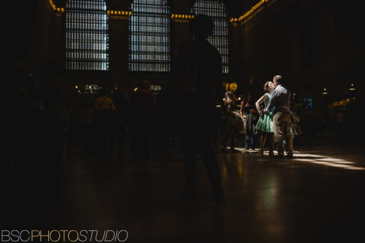 New York City creative modern engagement photo grand central station