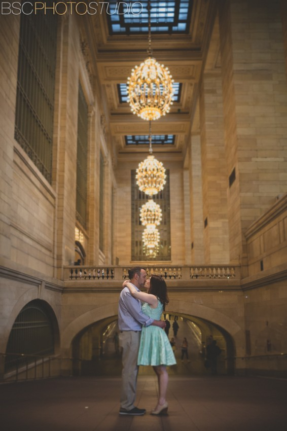 New York City creative modern engagement grand central station