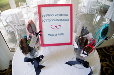 Colored sunglasses at wedding ceremony