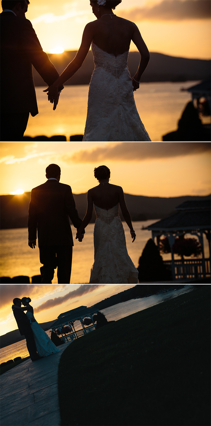 unique wedding reception documentary photography at The Candlewood Inn Brookfield Connecticut bride groom sunset silhouette