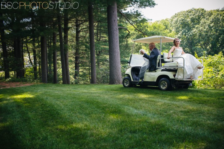 bride on golf cart