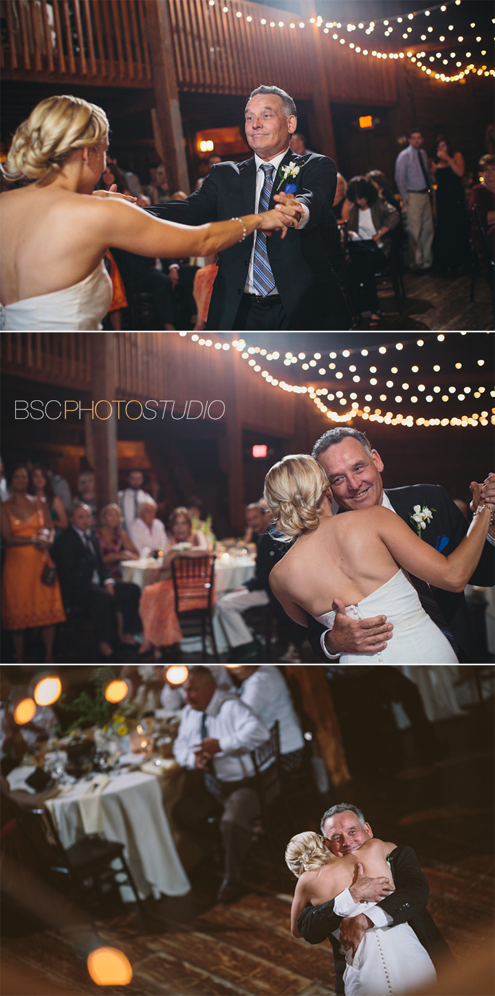 fun unique wedding reception photos at The Barns Weslyan Hills CT photographer father daughter dance