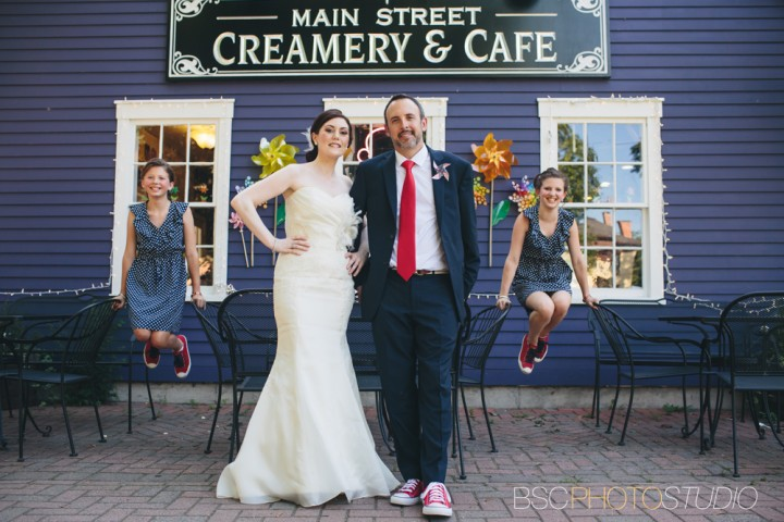 Main street Creamery and Cafe wedding photos in Wethersfield, CT