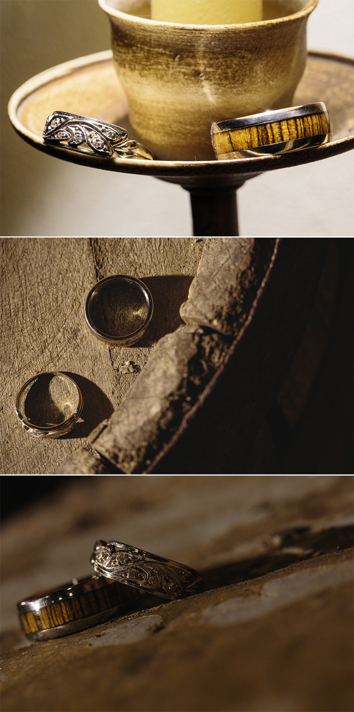 Rustic wedding ring photography