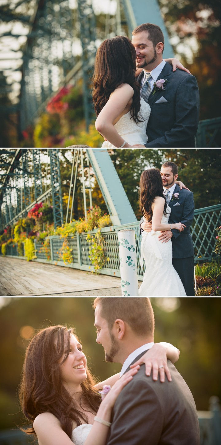 Modern creative wedding photographer at the Old Flower Bridge in Simsbury CT