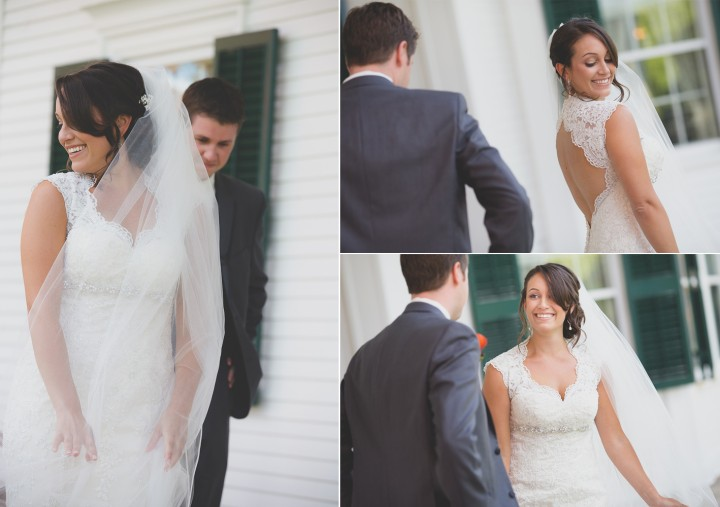 Beautiful documentary wedding first look photography at Hillstead Museum in Farmington CT