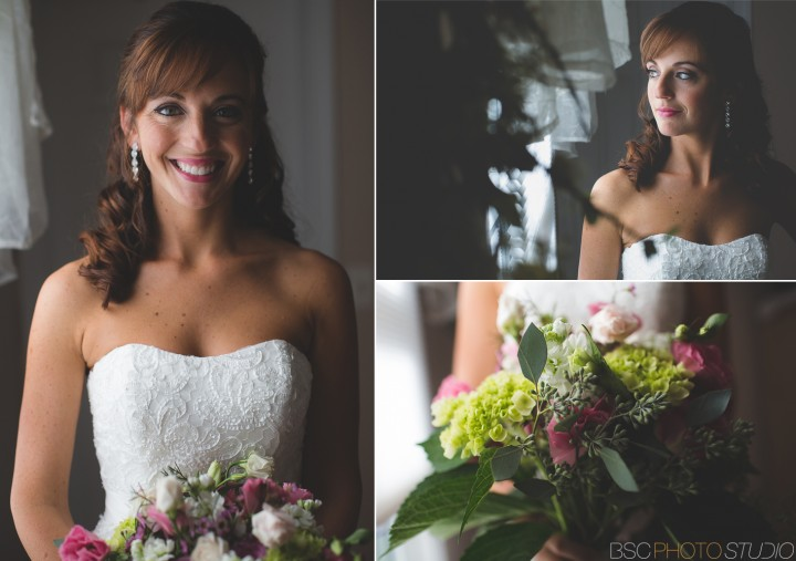 Beautiful bride in wedding dress lit by window light CT photography