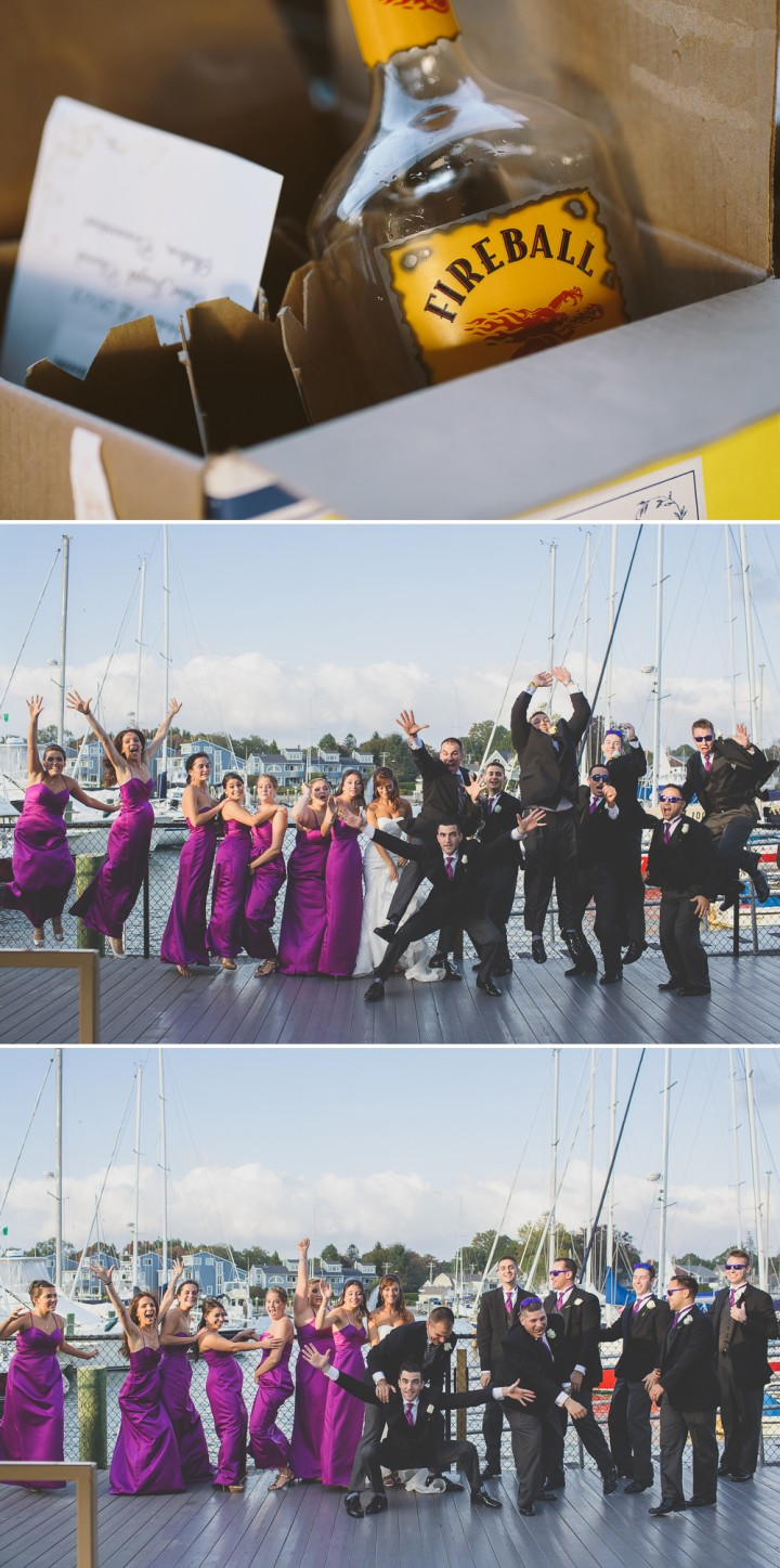 Fun jumping bridal party pictures wedding photo at Milford Yacht Club CT