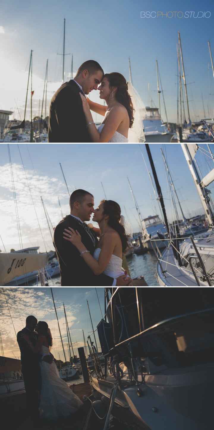 Modern romantic beautiful documentary wedding photo at Milford Yacht Club CT