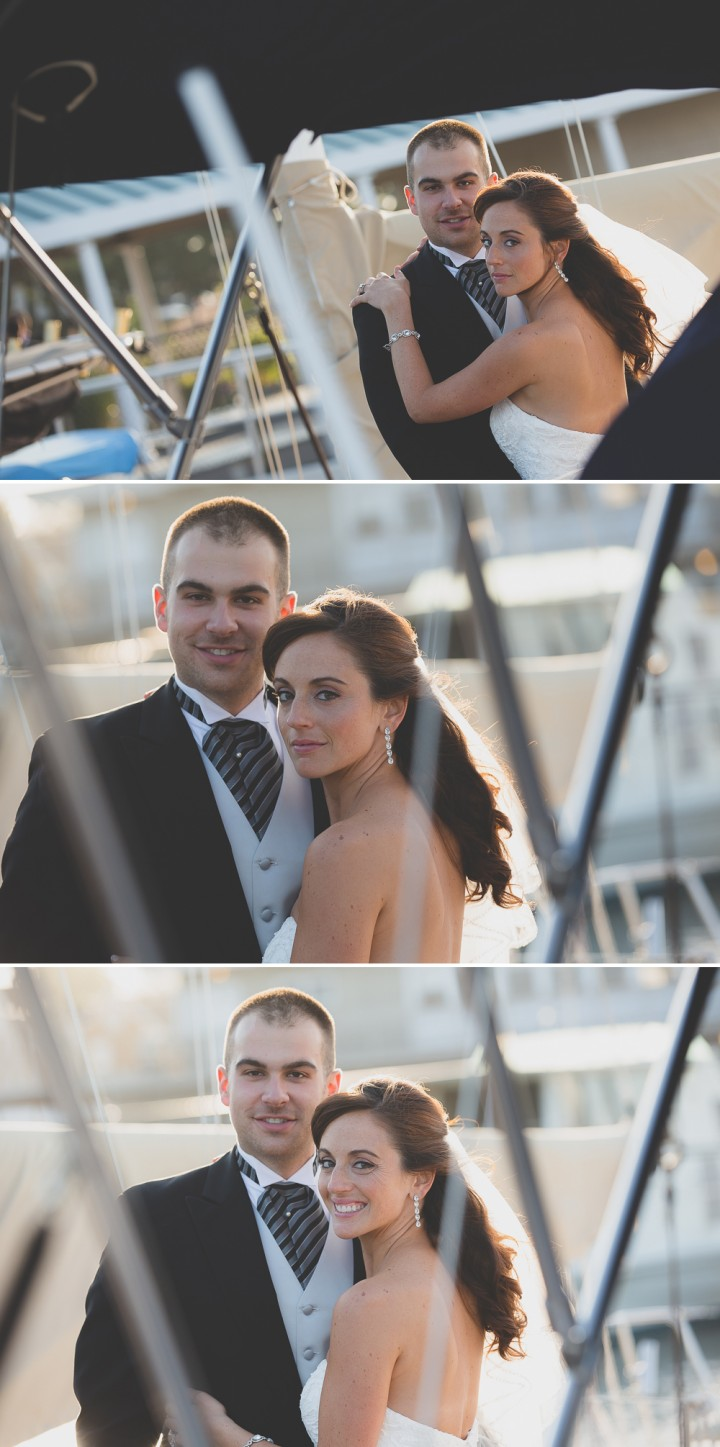 Romantic beautiful CT documentary wedding photo at Milford Yacht Club with sail boats