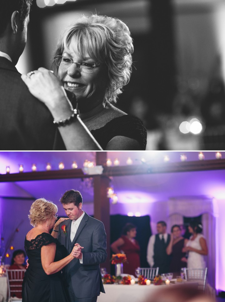 Documentary wedding reception photography Mother son dance in Farmington CT